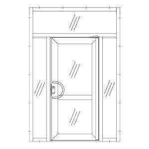 Dörr med två sidoljus & överljus