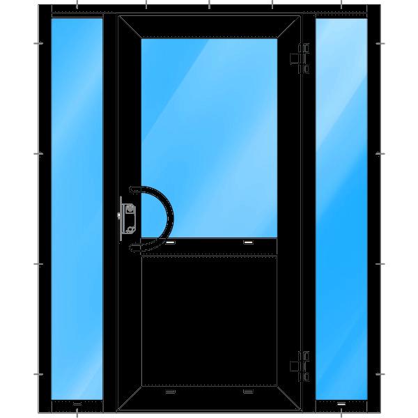 Dörr med två sidoljus